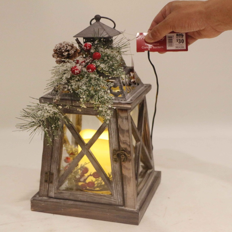 wooden LED christmas lantern with flowers decorative