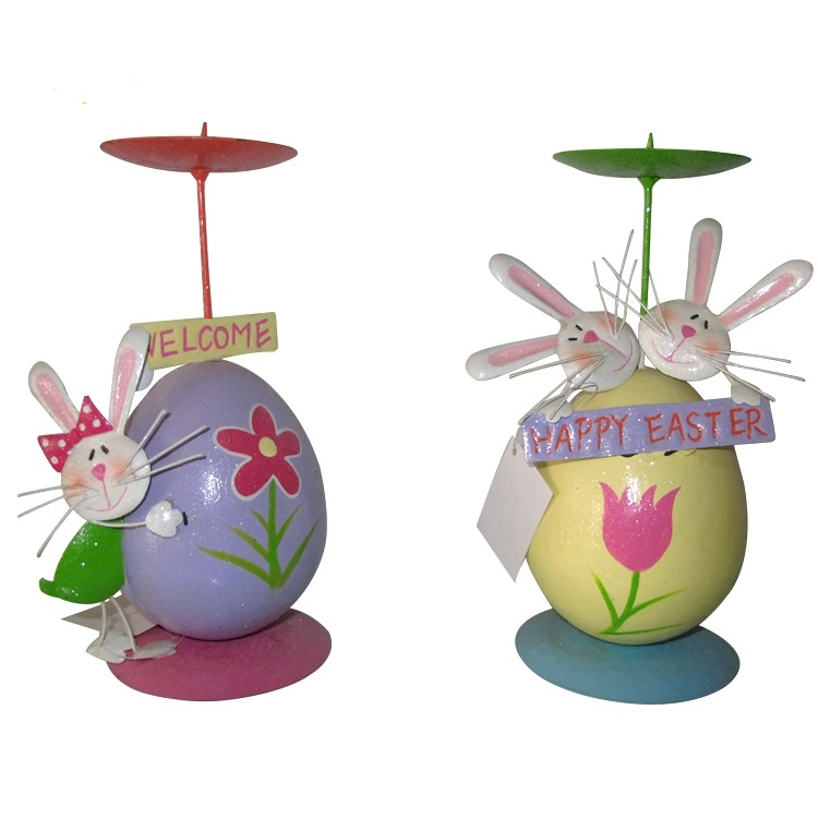 Cute Spring Items Holiday Easter Egg Metal Decorative Easter Rabbits