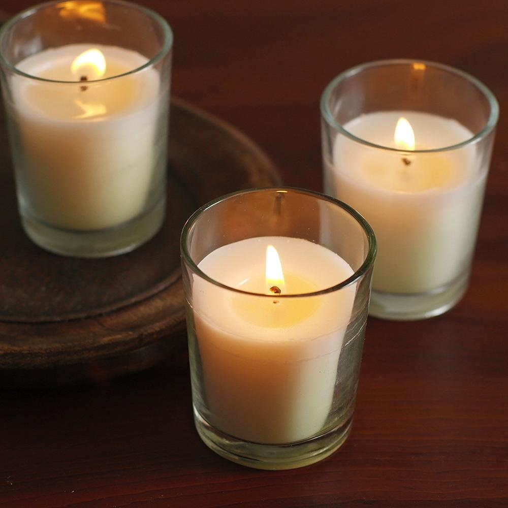 Clear Glass Wax Filled votive candle holder