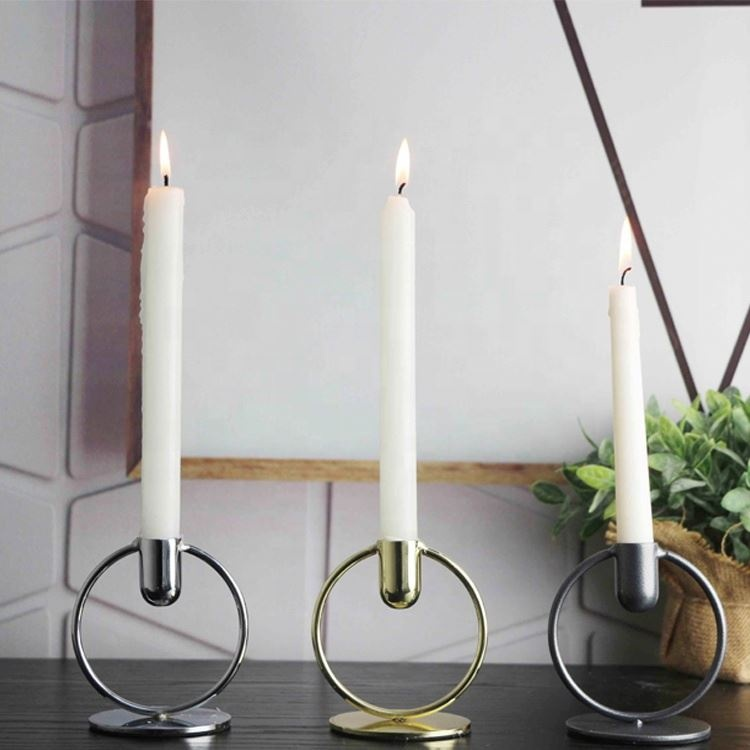 Multicolor optional simple round shape table metal candle holder for dinner
