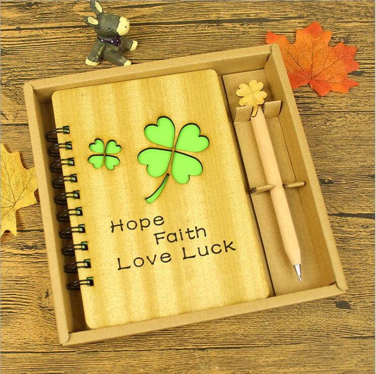 Retro wooden notebook with pen gift crafts stationery Boutique Gift