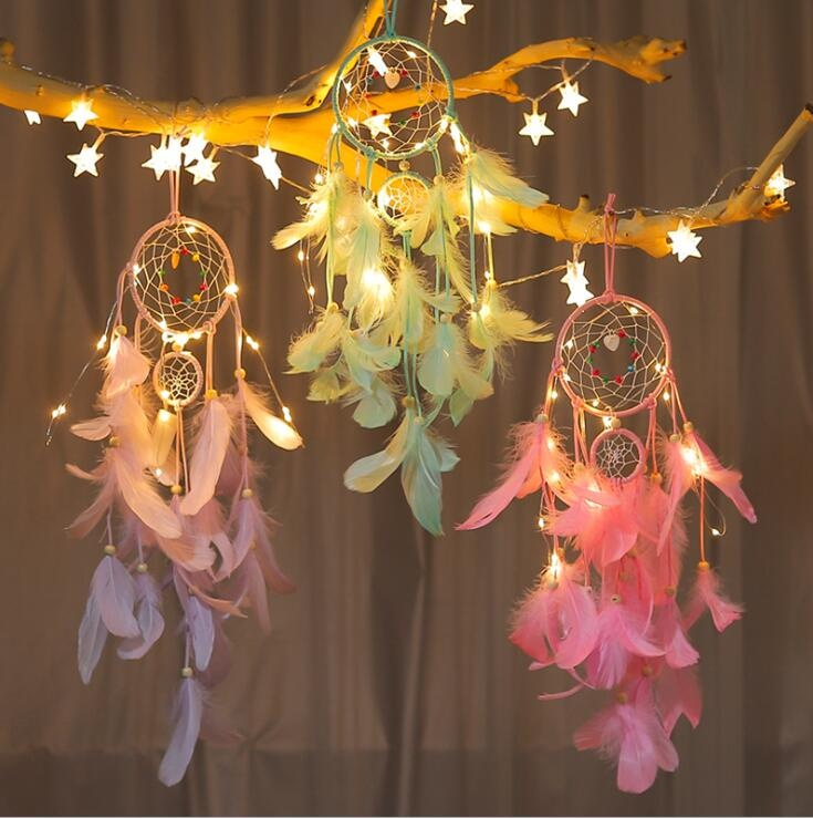 popular handmade indian dream catcher feather with led light home décor