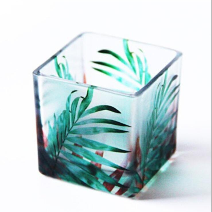 Square glass tealight candle holder with rainforest pattern set of 3