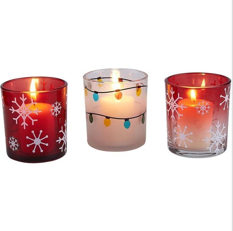 christmas snow design on red glass  votive candle holder