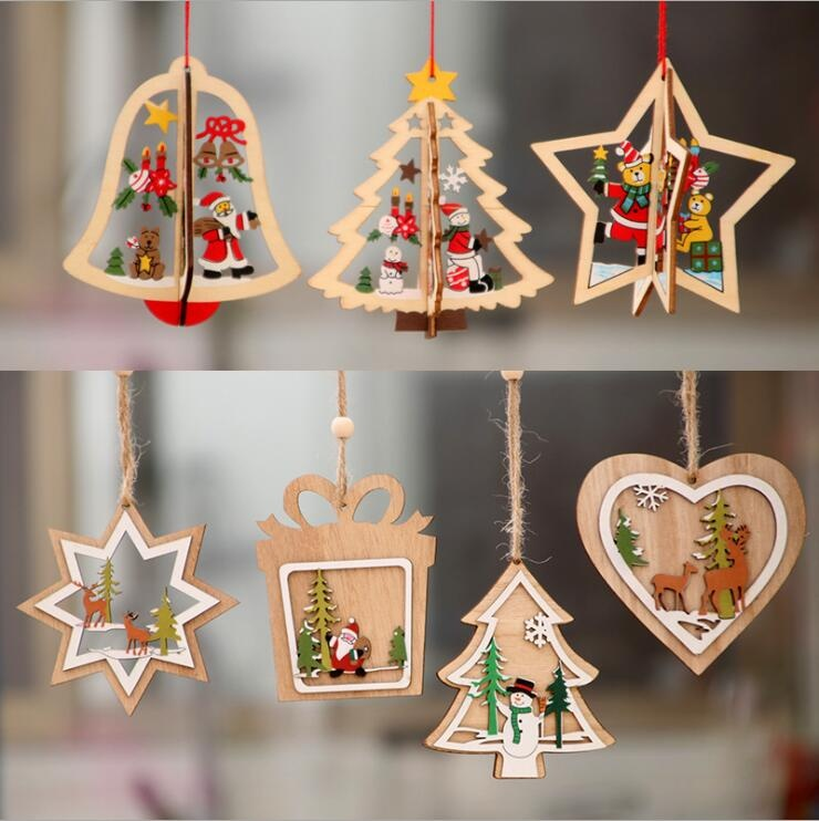 wooden hanging ornament Christmas tree decoration