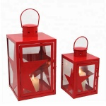 Set Of 2 table light with red star decoration Christmas mini metal lanterns