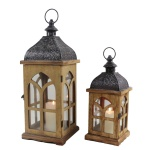 Garden decorative hurricane wooden camping lantern