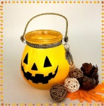 Pumpkin desaign hanging glass candle holder halloween decoration