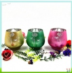 Glass Hurricane Candle Holders set handicraft Colourful