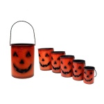 Pumpkin Jack-O-Lantern Metal Candle Holders, Halloween Luminaries Set of 5