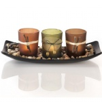 Rocks and Tray Natural Candlescape Set decorative glass candle holder
