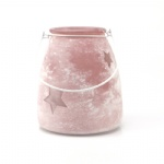 Powder Efferct Decorative Pink Star Glass Vase For Home Decoration