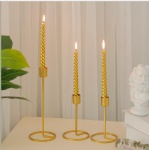 metal gold pillar taper candle holder simple style for wedding decor