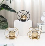 2019 New gold Geometric Metal wired with glass candle holder European style