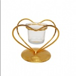 Gold metal wire heart shape decorative metal candle holder with glass tealight holder