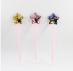 Novelty plastic ballpen star decor with glitter surface two sides
