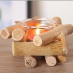 Christmas Mini wooden holder frames with glass tealight holder inside