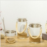 set of 3 clear glass cylinder vase lantern with rope handle metal ring for wedding and event