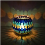 Cracked mosaic Votive glass tealight candle holder