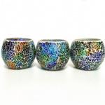 Crackle vintage mosaic glass colored glass tea light holders
