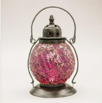 Hanging crackle glass mosaic metal lanterns for home&garden decor