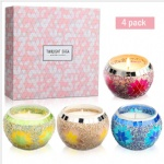 white scented mosaic glass wax gift sets for christmas birthday gift set