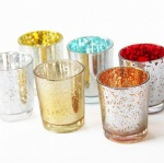 glass speckled mercury candle holder set of 6 /tealight votive candle holder gift sets
