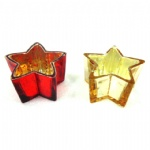 Christmas home decoration star shaped thick glass mercury candle holder